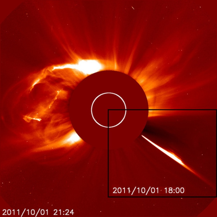 The Solar and Heliospheric Observatory captured this shot of a huge coronal mass ejection on Oct. 1, shortly after a comet dove into the sun (inset, right).