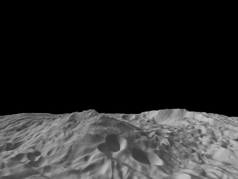 A giant mountain on the asteroid Vesta takes center stage in this image calculated from a shape model using data from NASA's Dawn probe. The image shows a tilted view of the topography of the south polar region, where the tall mountain (at center) rises 13 miles above its surroundings.