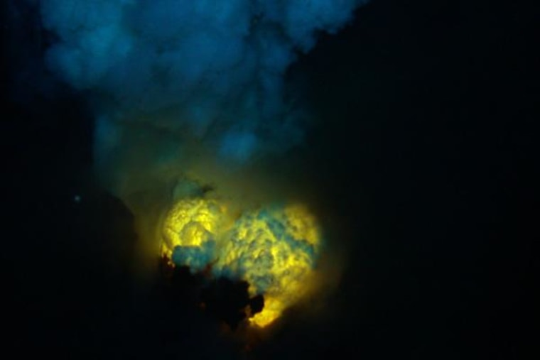 Magma and gas spew from submarine volcano