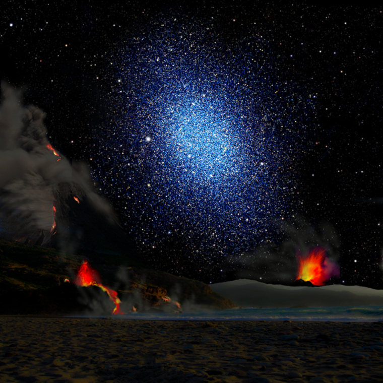 This artist's conception shows a dwarf galaxy seen from the surface of a hypothetical exoplanet. A new study finds that the dark matter in dwarf galaxies is distributed smoothly rather than being clumped at their centers. This contradicts simulations using the standard cosmological model known as lambda-CDM.