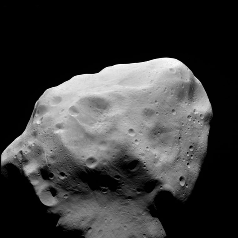 An OSIRIS clear filter image taken during the flyby of the Rosetta spacecraft at asteroid Lutetia on July 10, 2010.