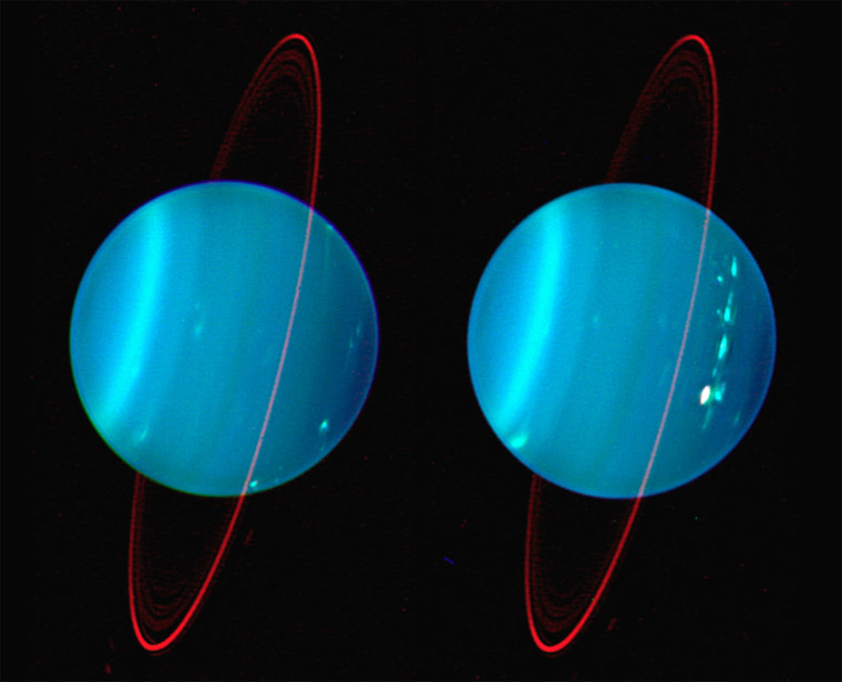 As this 2004 infrared Keck telescope image shows, Uranus is tilted, plus it has structure in its atmosphere. It even has a ring system. Not so boring now, is it?