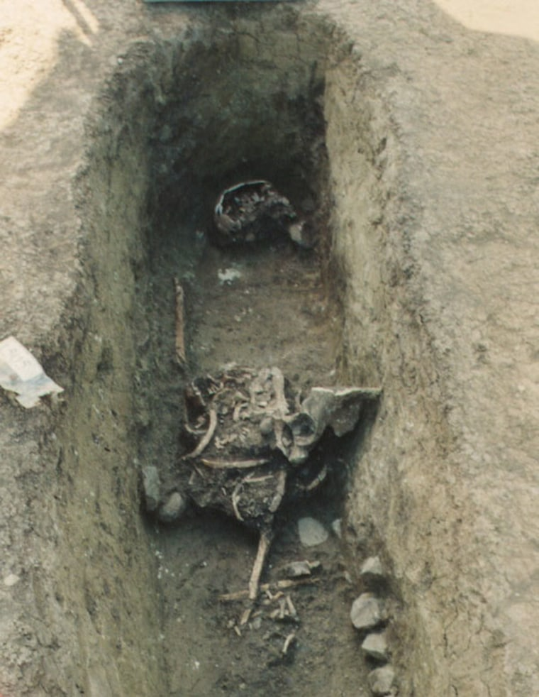 When this grave in the Austrian medieval cemetery Brunn am Gebirge was excavated, the jumbled bones of the corpse revealed someone else had beat excavators to it and had opened it up to rummage around inside.