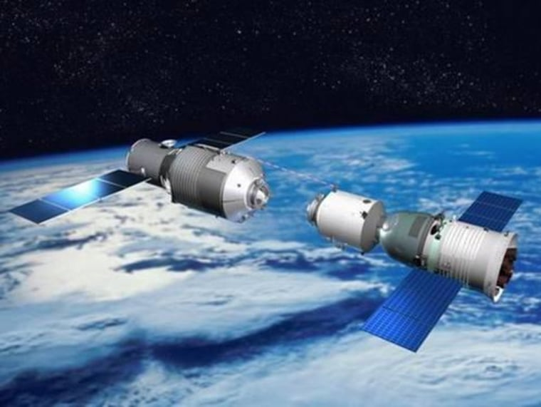 An illustration depicts a Shenzhou vehicle approaching the Tiangong 1 lab during orbital rendezvous and docking tests, a precursor for space station construction.