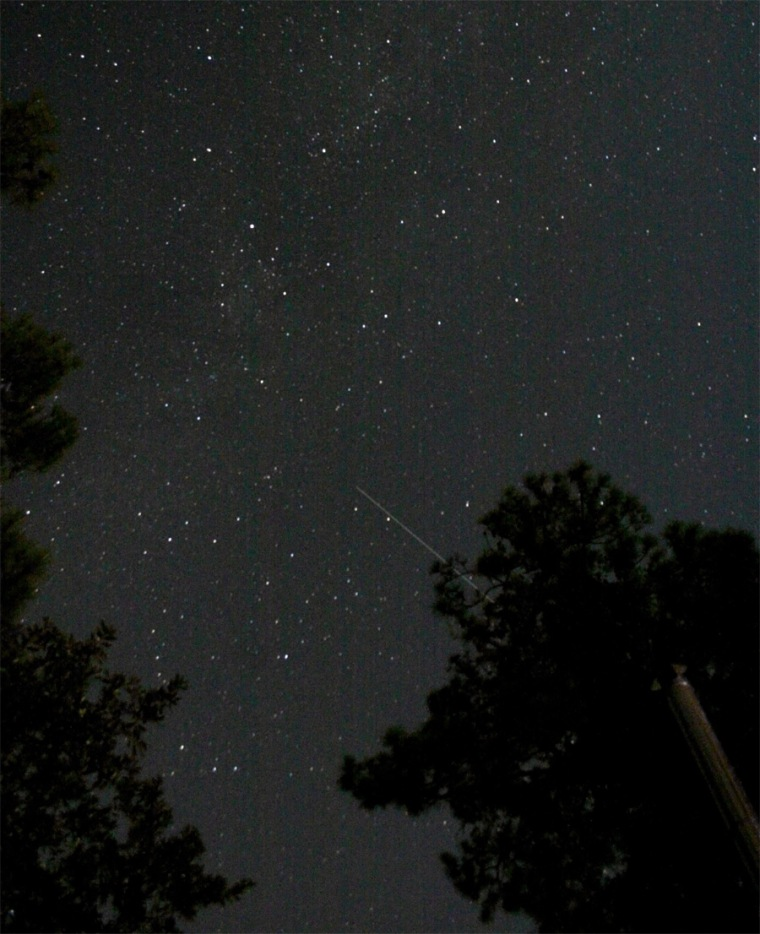 Amateur astronomer Tavi Greiner took this photo of the Tiangong 1 spacecraft from Shallotte, N.C. on Oct. 4.