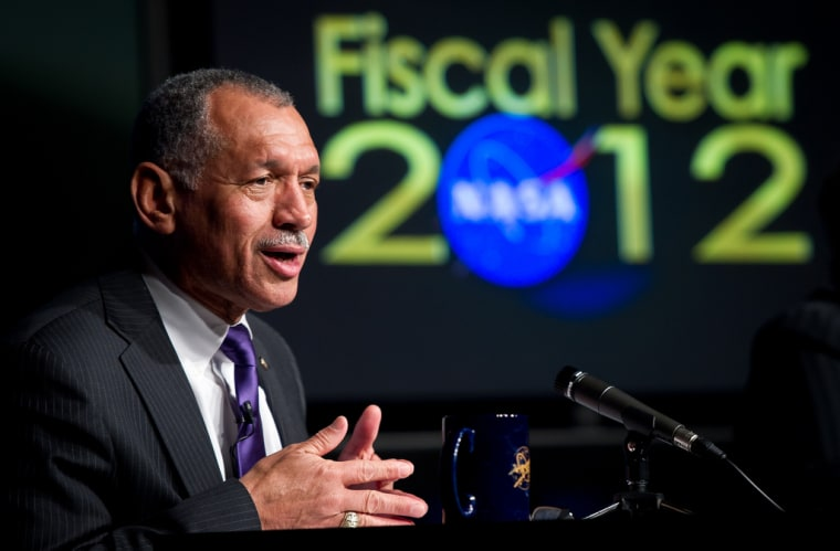 NASA Administrator Charles Bolden responds to a question at NASA's Fiscal Year 2012 budget briefing on Monday, Feb. 14, at NASA Headquarters in Washington.