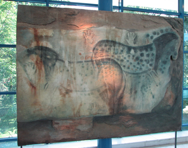 A painting of leopard-spotted horses on the walls of French caves in the Stone Age.