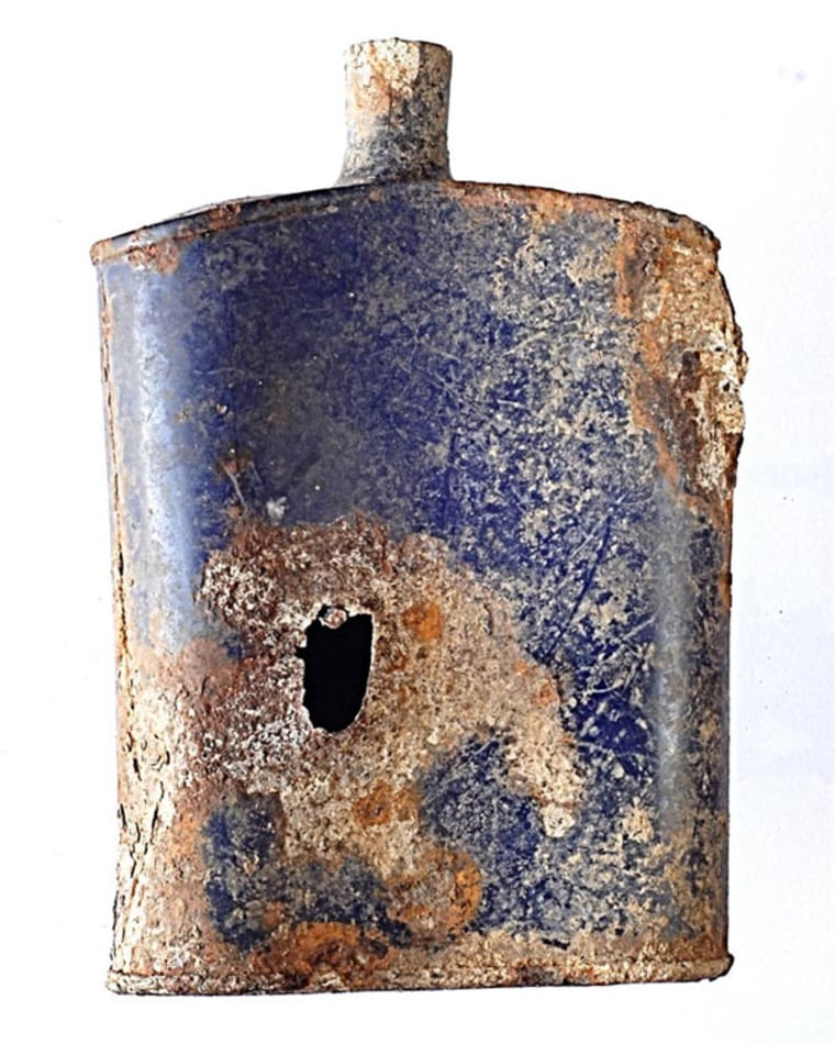 A water bottle with a bullet hole was among the artifacts found during an archeological survey of a First World War site, the Anzac battlefield, on Turkish soil.