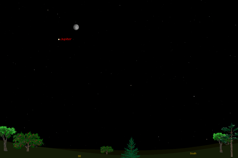 This sky map shows how Jupiter and the moon will appear in the sky at 8 p.m. local time to observers in midnorthern latitudes on Tuesday night.