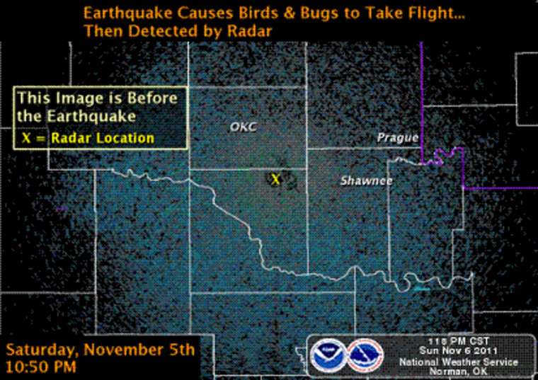 The National Weather Service radar just before the earthquake struck.
