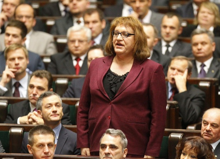 Image: Grodzka, first transsexual Polish lawmaker, from Palikot's Movement is being sworn in during the first session of the Polish Parliament in Warsaw.
