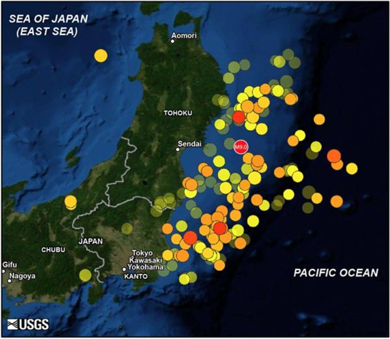 This map shows the March 11, 2011, magnitude-9.0 mainshock off Tohoku and 166 aftershocks of magnitude 5.5 and greater until May 20. Warmer color indicates more recent events. Larger symbol indicates greater quake magnitude.