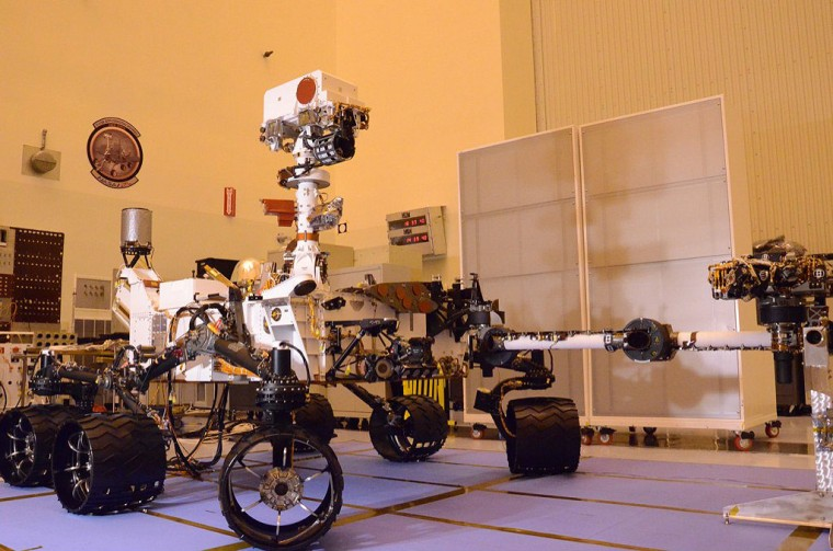 NASA's Curiosity Mars Science Laboratory as seen on Aug. 12 at the Kennedy Space Center in Florida. The next time the rover will be seen in this configuration is after it lands on the surface of Mars in August 2012.