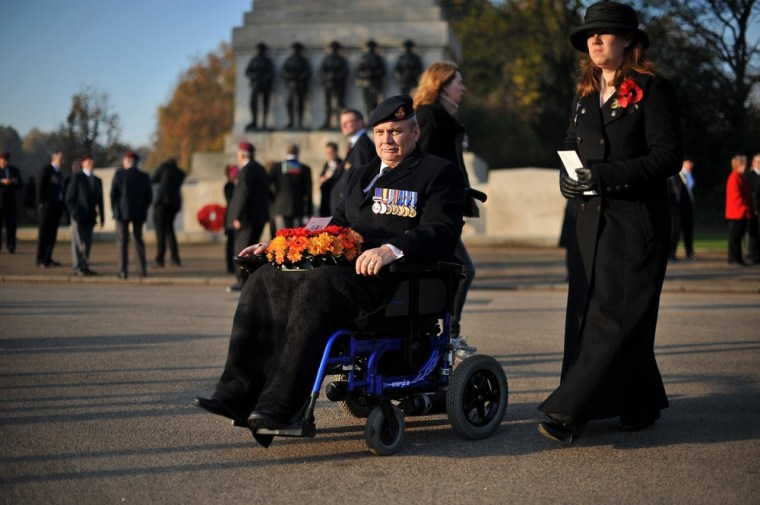 Image: An ex-serviceman arrives at the Remembrance Sunday service at The Cenotaph in Whitehall, London
