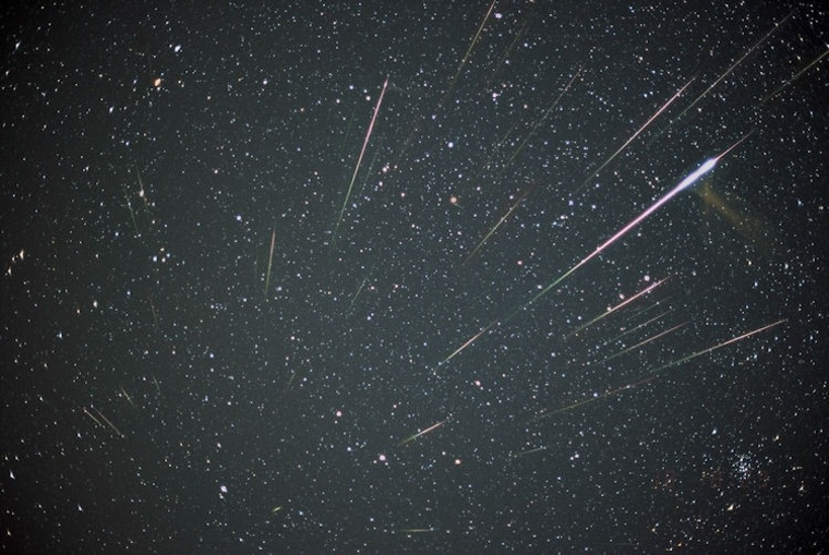 This image is a composition of 33 Leonids captured overnight from Nov. 18 to 19, 2001.