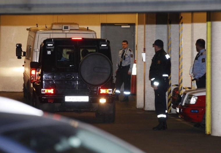 Image: Norwegian mass killer Anders Behring Breivik arrives at a court in Oslo on November 14