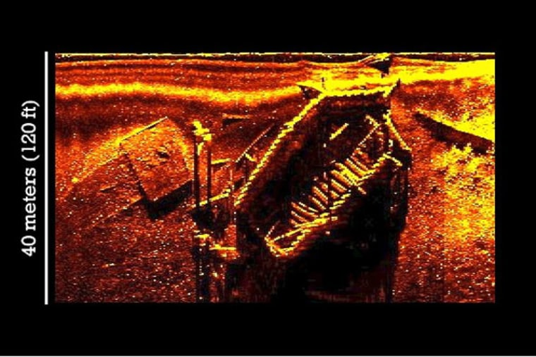 A digital sonar image of a newly discovered vessel on the floor of the York River in Virginia, at the site of the 1781 Battle of Yorktown. Students will help monitor the status of this wreck using robotic submarines.
