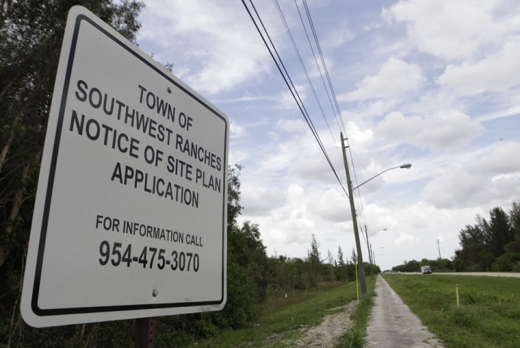 Image: Sign at site of proposed detention center in Southwest Ranches, Fla.