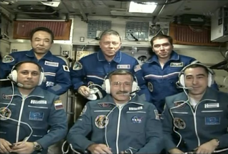 Members of the International Space Station's newly expanded crew facedthe camera last week. Top row (left to ight): Japanese astronaut Satoshi Furukawa, U.S. astronaut Mike Fossum and Russian cosmonaut Sergei Volkov. Those three have since returned to Earth. Remaining are, bottom row (left to right): Russian cosmonaut Anton Shkaplerov, NASA astronaut Dan Burbank and Russian cosmonaut Anatoly Ivanishin.
