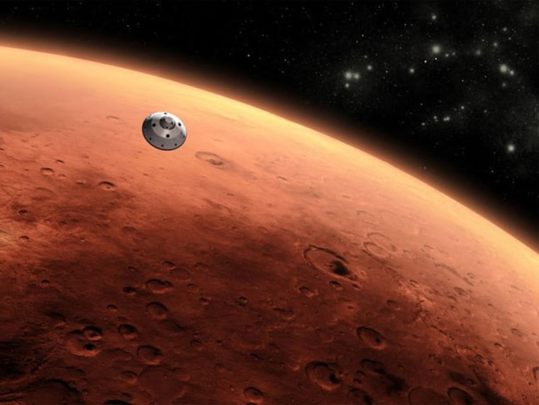 Artist's render of spaceship over Mars