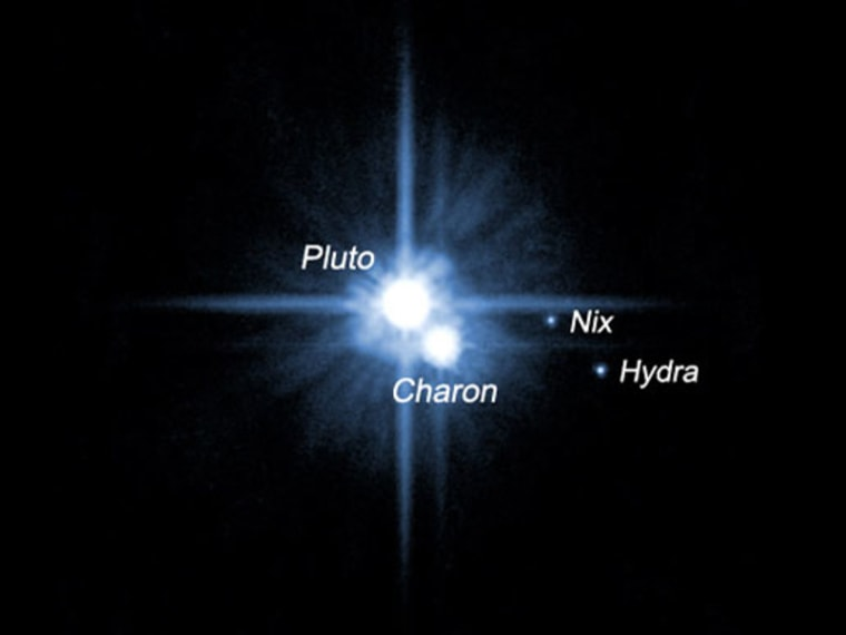 A pair of small moons orbiting Pluto named Nix and Hydra were discovered by NASA's Hubble Space Telescope in 2005. The two moons are roughly 5,000 times fainter than Pluto and are about two to three times farther from Pluto than its large moon, Charon, which was discovered in 1978.