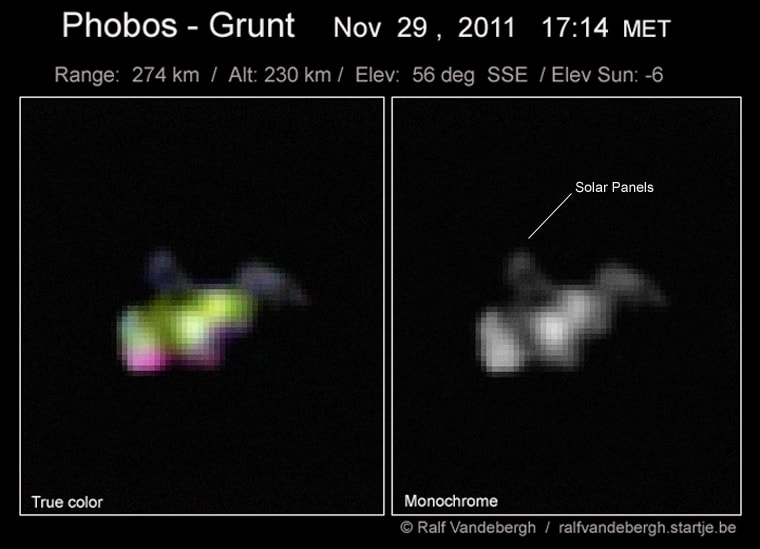 Skywatcher Ralf Vandebergh snapped this shot of the stranded Russian Mars probe Phobos-Grunt on Tuesday from the southern Netherlands.