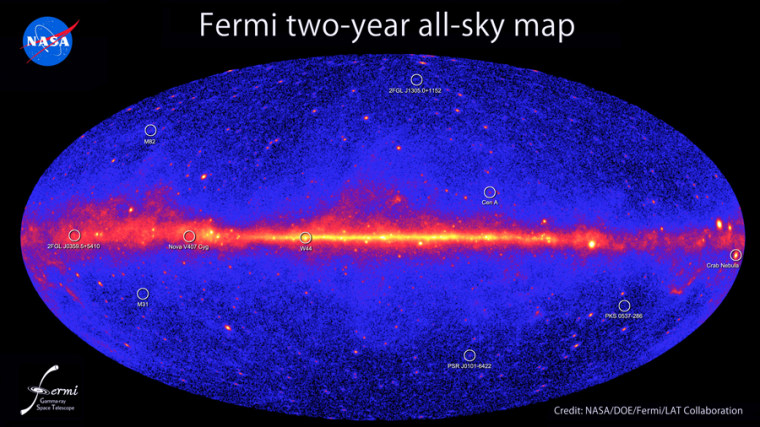 This all-sky image, constructed from two years of observations by NASA's Fermi Gamma-ray Space Telescope, shows how the sky appears in gamma-ray light. Brighter colors indicate brighter gamma-ray sources. A diffuse glow fills the sky and is brightest along the plane of our galaxy (middle). Discrete gamma-ray sources include pulsars and supernova remnants within our galaxy and distant galaxies powered by supermassive black holes.