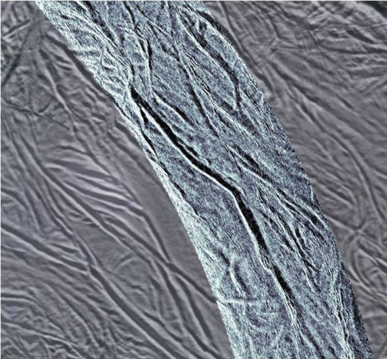 This image shows grooves in the southern part of Saturn's moon Enceladus. The image was created using synthetic-aperture radar (SAR) data acquired by NASA's Cassini spacecraft on Nov. 6. The radar image is overlaid in light blue over an earlier visible-light image.