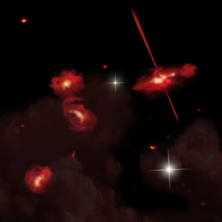 Image: Artist's concept, four red galaxies