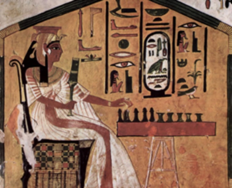 This work portrays the ancient Egyptian game of Senet.