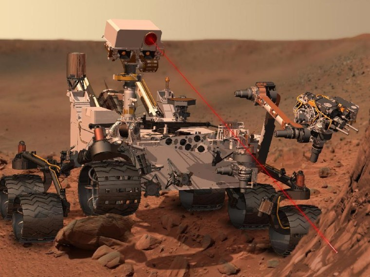 An artist's concept of Curiosity searching for interesting samples on Mars' surface.