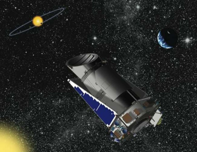 An artist's conception shows NASA's Kepler telescope in space, observing a planet passing over the disk of its parent star. The images of the planetary system and the telescope are not shown to scale.