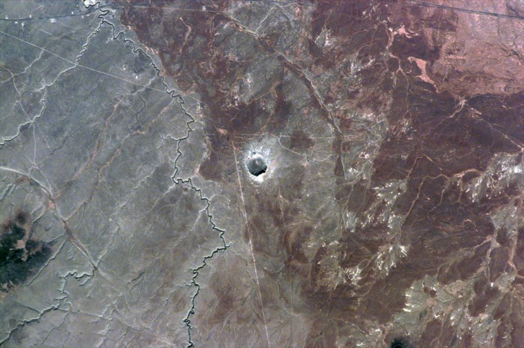 Barringer Impact Crater in Arizona – also known as Meteor Crater – is captured in this image taken in 1995 by space shuttle astronauts.