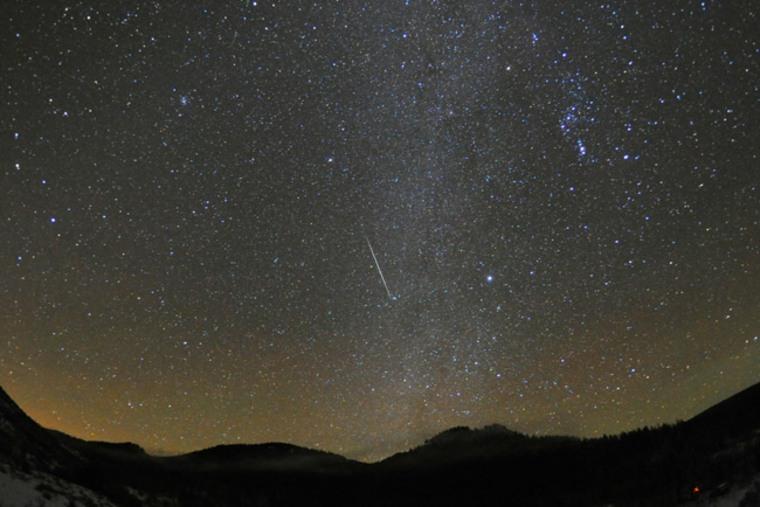 A Geminid meteor streaks acrossSteamboat Springs, Colo., on Dec. 12, 2010.
