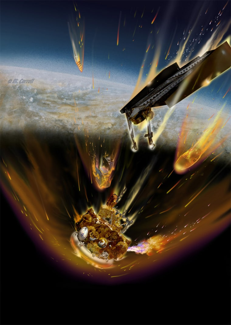 There is little hopeof salvagingRussia's Phobos-Grunt, stuck in low Earth orbit. If it is not brought under control, this artist's concept shows burning fuel as it streams from a ruptured fuel tank as the doomed Mars probe re-enters Earth's atmosphere.