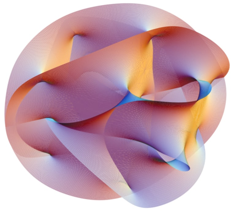 Visualization of a Calabi-Yau manifold, a structure representing the six dimensions of space-time that are curled up, according to the string theory.