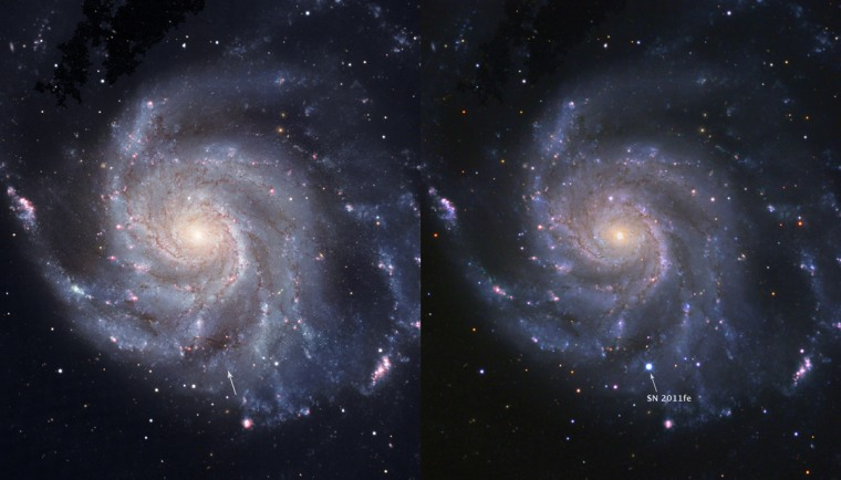 Before-and-after pictures show the Pinwheel Galaxy before a Type 1a supernova exploded (left) and hours after the explosion on Aug. 24 (right).