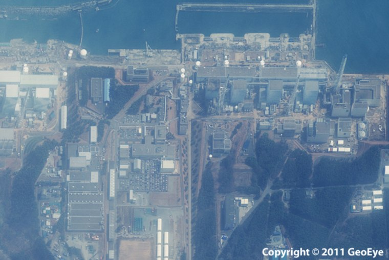 This half-meter resolution satellite image was taken of the Fukushima Daiichi nuclear power plant three days after a 9.0-magnitude earthquake struck the Oshika Peninsula on March 11, 2011.The image was taken by the GeoEye-1 satellite from 423 miles in space as it moved from north to south over Japan at a speed of four miles per second.