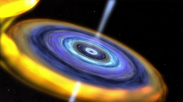 The binary star system IGR J17091-3624 may contain the smallest black hole known. Scientists discovered it by studying the heartbeat-like pattern of X-rays thought to be emitted from a disk of accreting matter around the black hole.