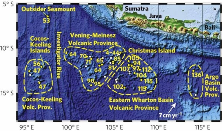 A map of the mysteriousChristmas Island Seamount Province with seamount locations and plate motions.