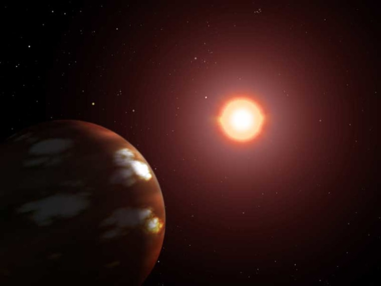 This artist's rendition depicts a Neptune-sized planet in orbit around Gliese 436. Most likely tidally locked, the planet turns only one face toward its sun.