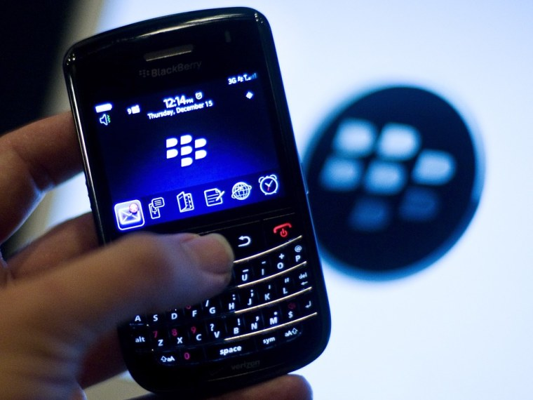 Image: A BlackBerry handset is displayed in Washington