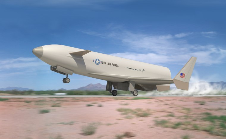 Lockheed Martin's Reusable Booster System Flight Demonstrator Program is designed to advance the affordability, operability and responsiveness of future spacelift capabilities over current expendable launchers. This image shows how the vehicle would land.