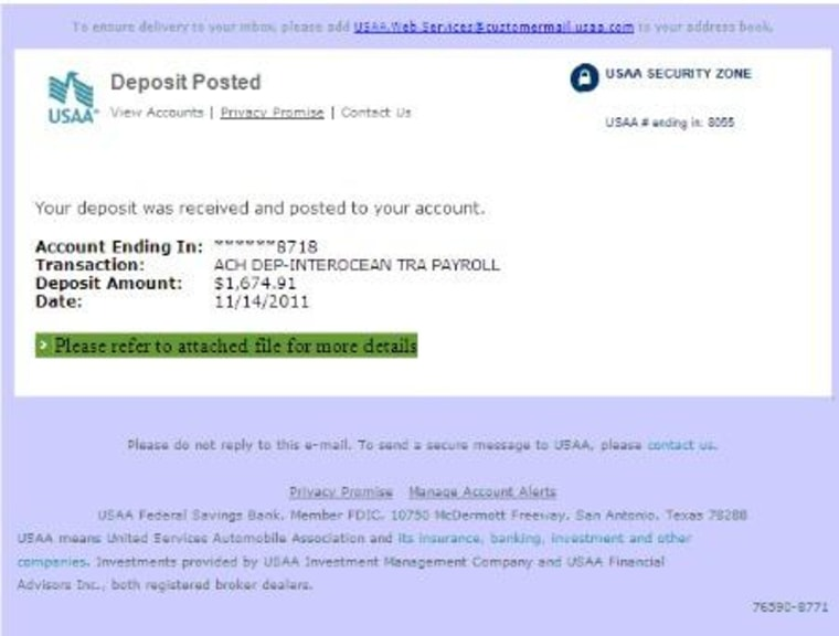 Cyber criminals are sending Trojan-laden emails to the USAA, a financial firm that serves members of the U.S. military.