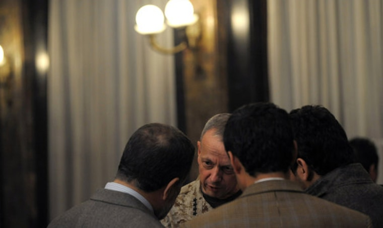 Gen. John R. Allen, the senior American commander in Afghanistan, conferring with Afghan officials in Kabul last Wednesday.