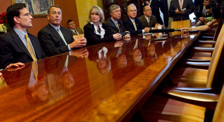 From left, Representative Eric Cantor and Speaker of the House John A. Boehner met with Republicans at the Capitol on Wednesday.