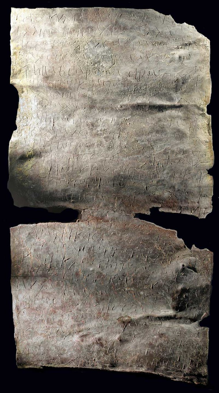 The curse tablet calls on Iao, the Greek name for Yahweh, god of the Old Testament, to strike down Babylas, who is identified as being a green grocer.