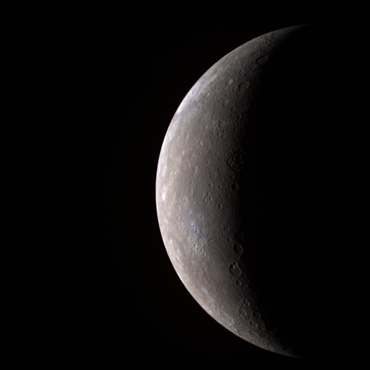 The first high-resolution image of Mercury transmitted by the MESSENGER spacecraft (in false color, 11 narrow-band color filters).