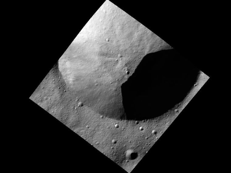 Image: Part of the rim of a fresh crater on the asteroid Vesta