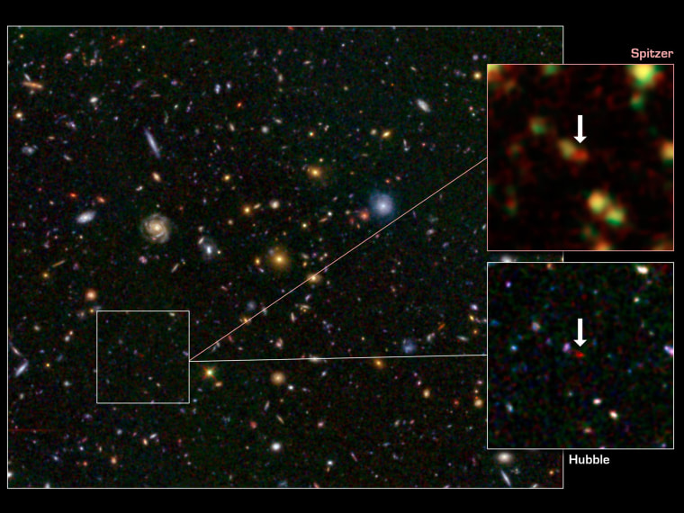 Image: One of the most distant galaxies known, called GN-108036.